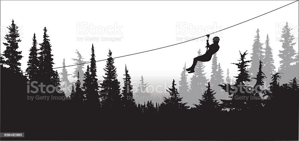 Forest Zip Line Adventure vector art illustration