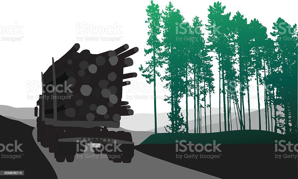 Forestry Road vector art illustration