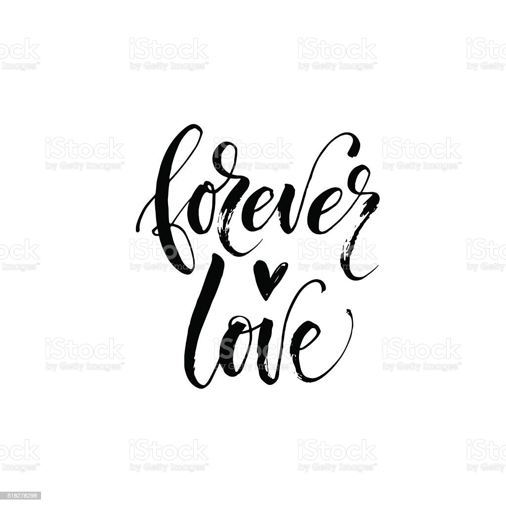 Forever love phrase. vector art illustration