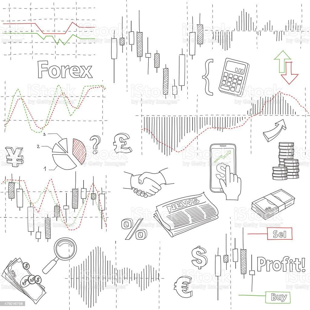 Câmbio estrangeiro mercado, a mão com vetor de fundo de negócios, dados financeiros vetor e ilustração royalty-free royalty-free