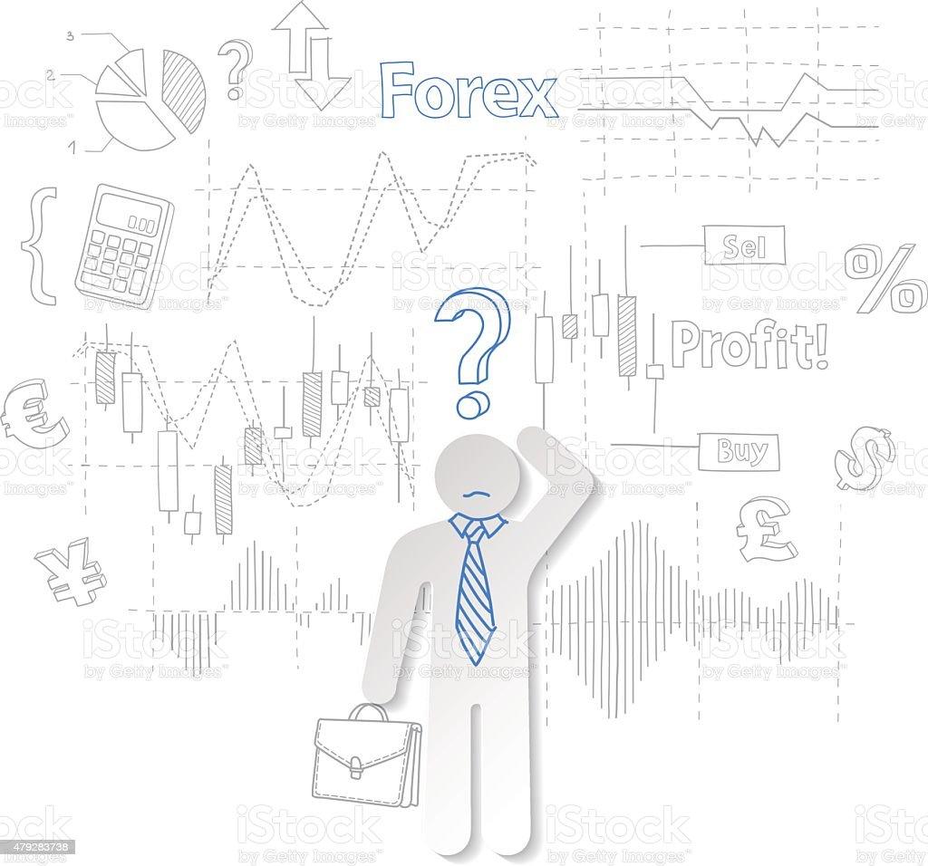 Câmbio estrangeiro trader e pergunta símbolo do acervo vetor comerciais vetor e ilustração royalty-free royalty-free