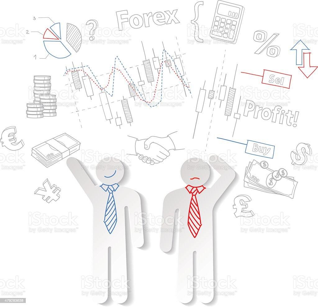 Câmbio estrangeiro traders e símbolos acervo vetor comerciais vetor e ilustração royalty-free royalty-free