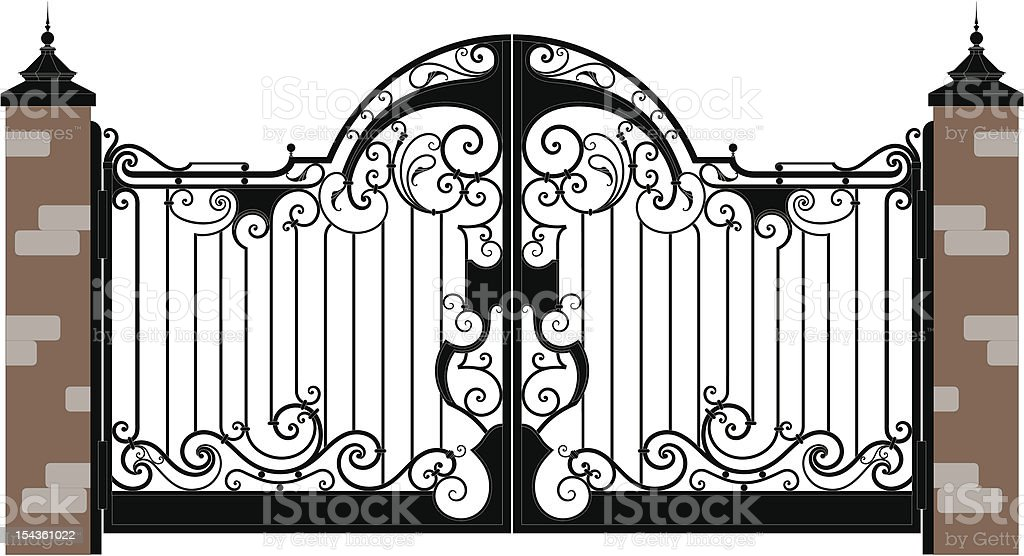 Forged Iron black gates attached to a brick wall vector art illustration