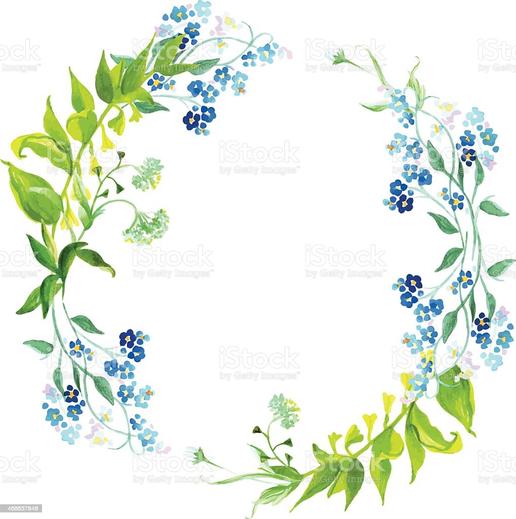 Forget-me-not and herb watercolor round vector frame vector art illustration