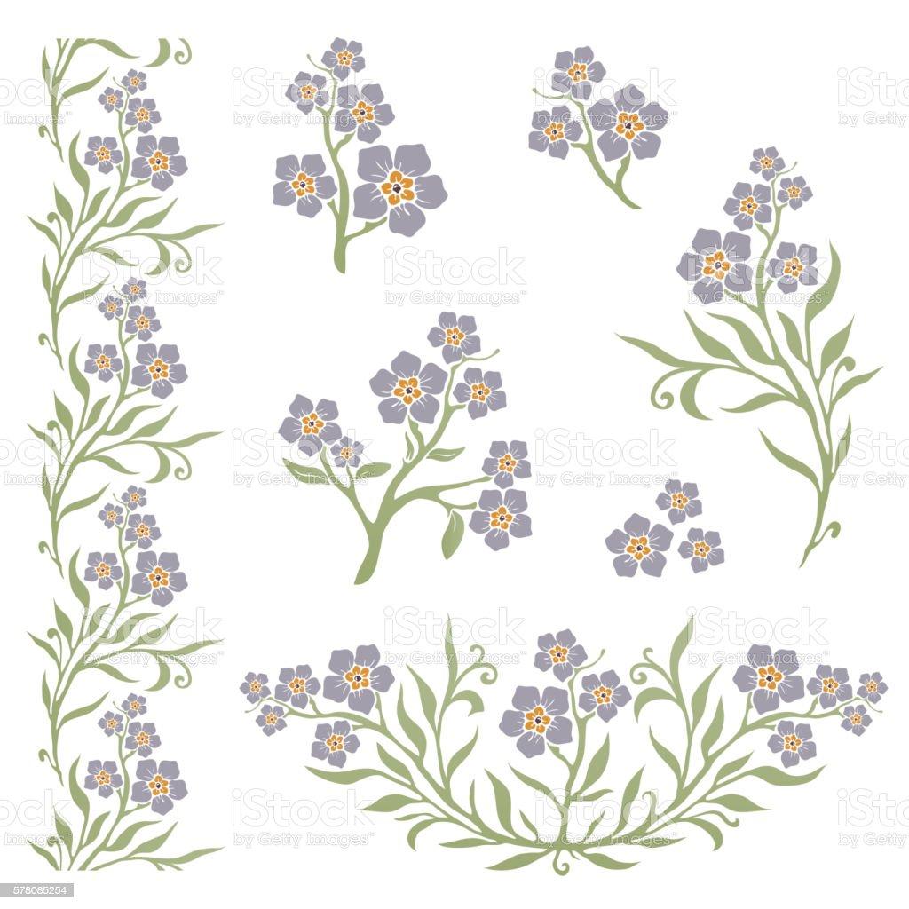 Forget-me-not (myosotis) graphic flowers vector art illustration