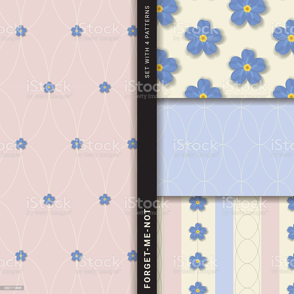 Forget-me-not (Set with 4 seamless patterns) vector art illustration