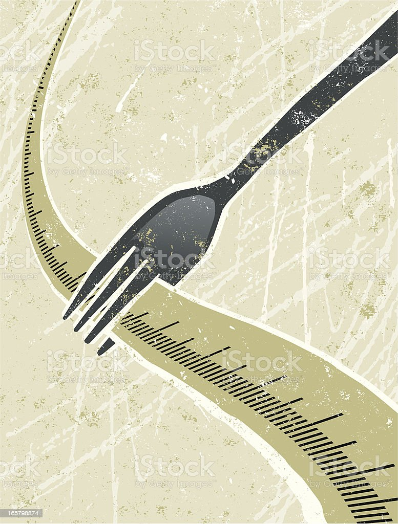Fork and  a Tape Measure royalty-free stock vector art