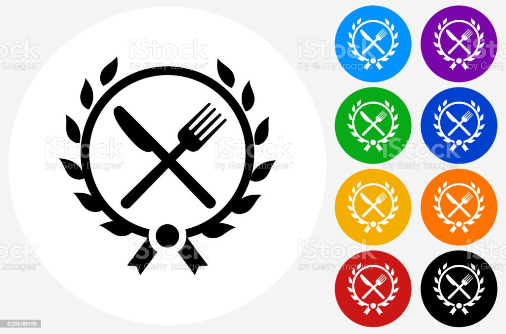 Fork and Knife Emblem Icon on Flat Color Circle Buttons vector art illustration