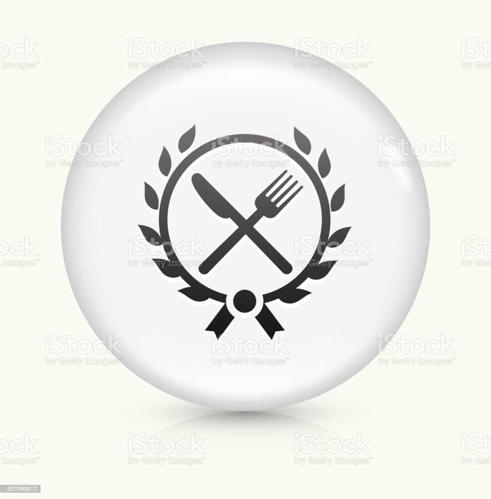 Fork and Knife Emblem icon on white round vector button vector art illustration