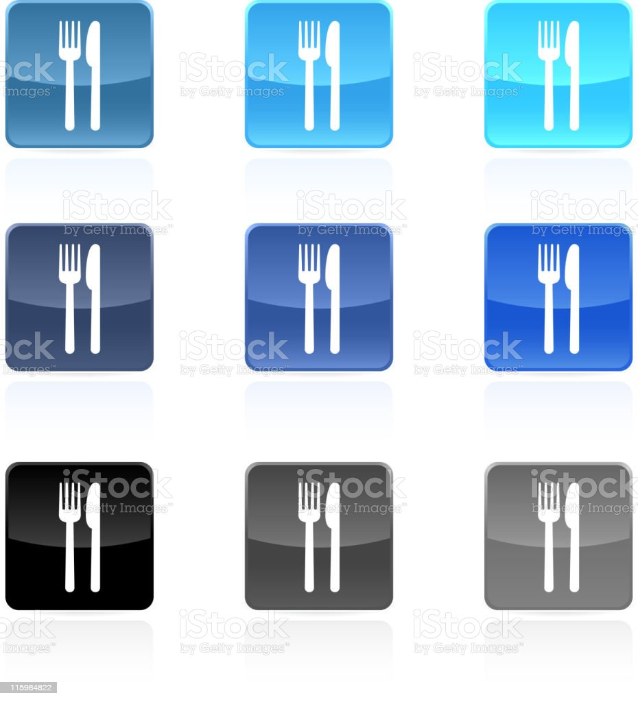 Fork and knife food royalty free vector icon set royalty-free stock vector art