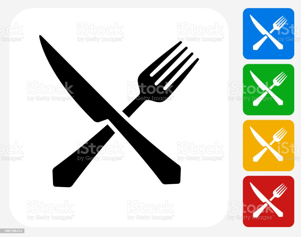 Fork and Knife Icon Flat Graphic Design vector art illustration