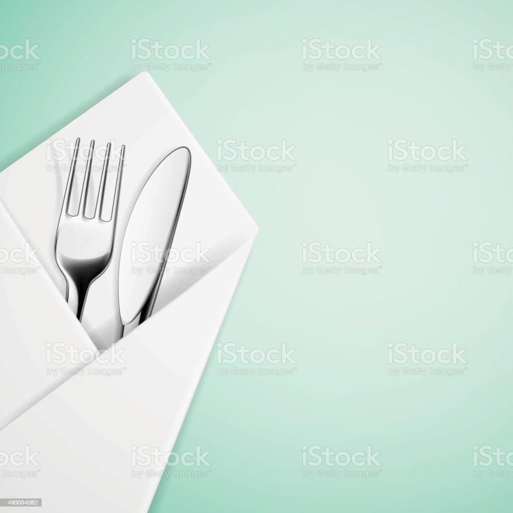 Fork and knife in a napkin. vector art illustration