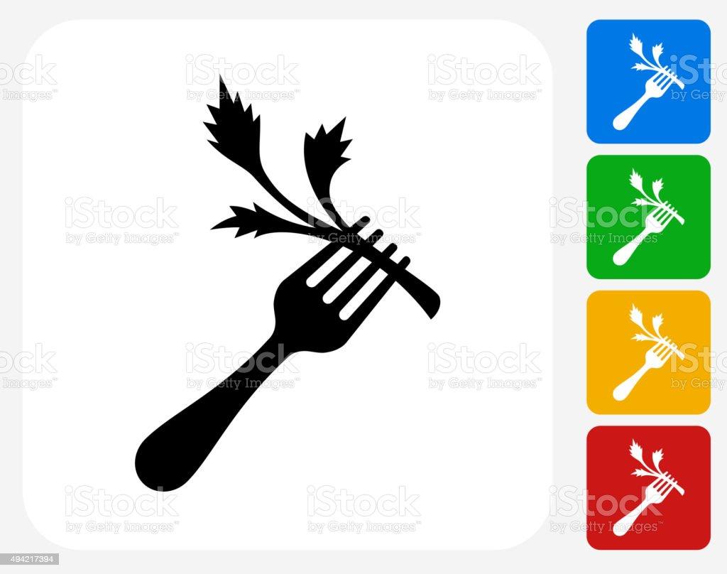 Fork and Salad Icon Flat Graphic Design vector art illustration
