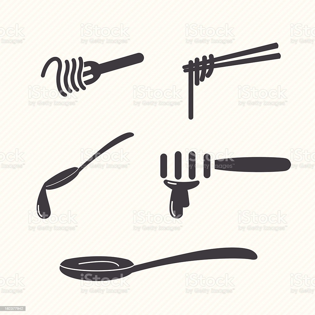fork and spoon vector art illustration