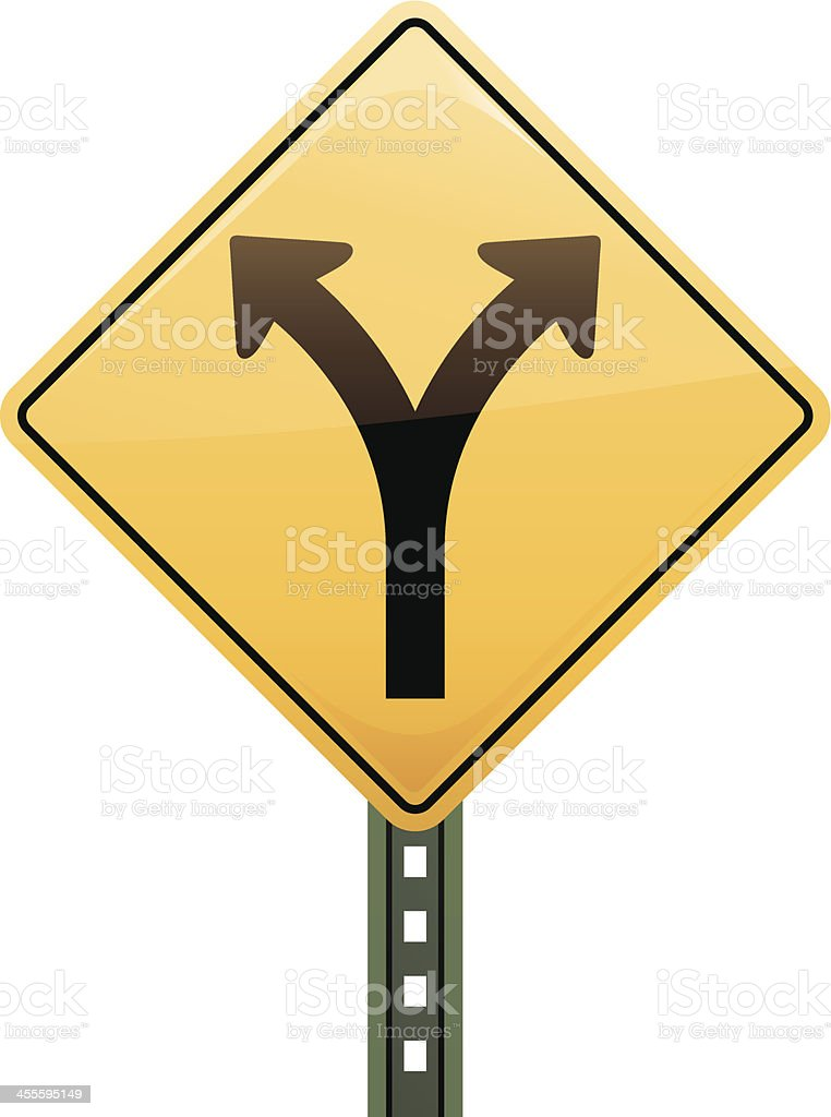 Fork in the Road Sign royalty-free stock vector art