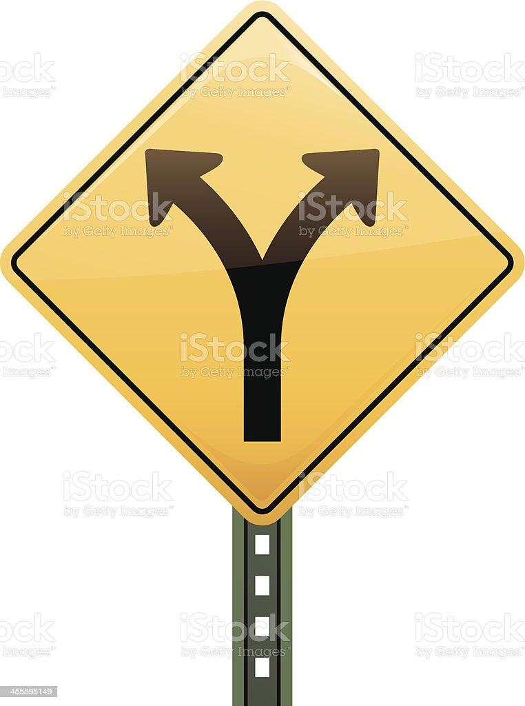 Fork in the Road Sign vector art illustration
