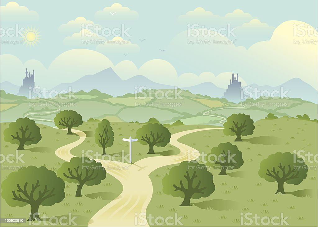 Fork in the road two. vector art illustration