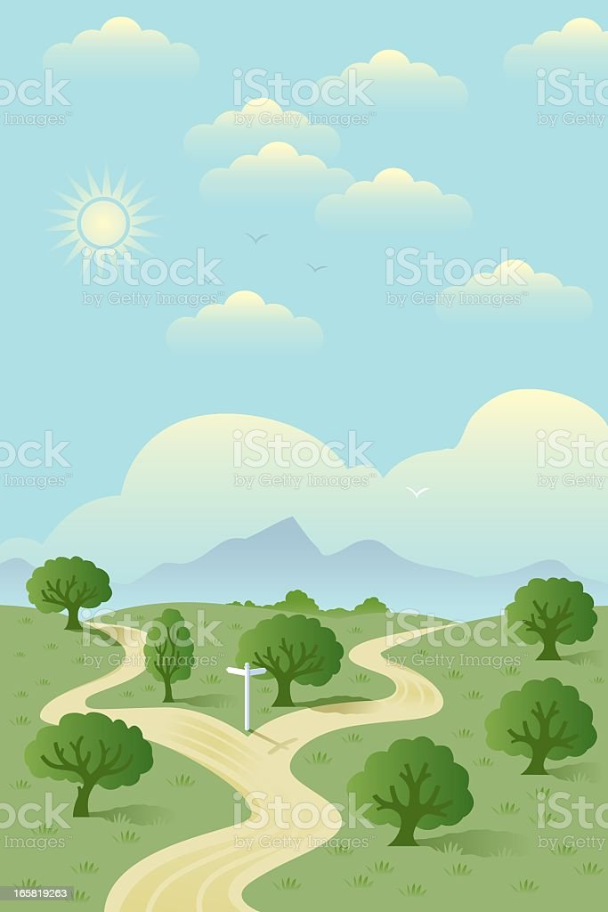 Fork in the road with illustration vector art illustration