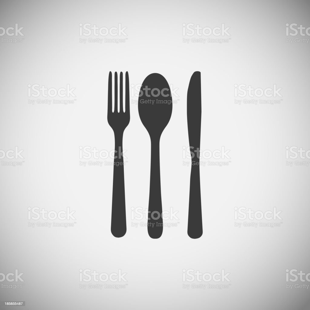 Fork, spoon and knife silhouettes over a gray background vector art illustration