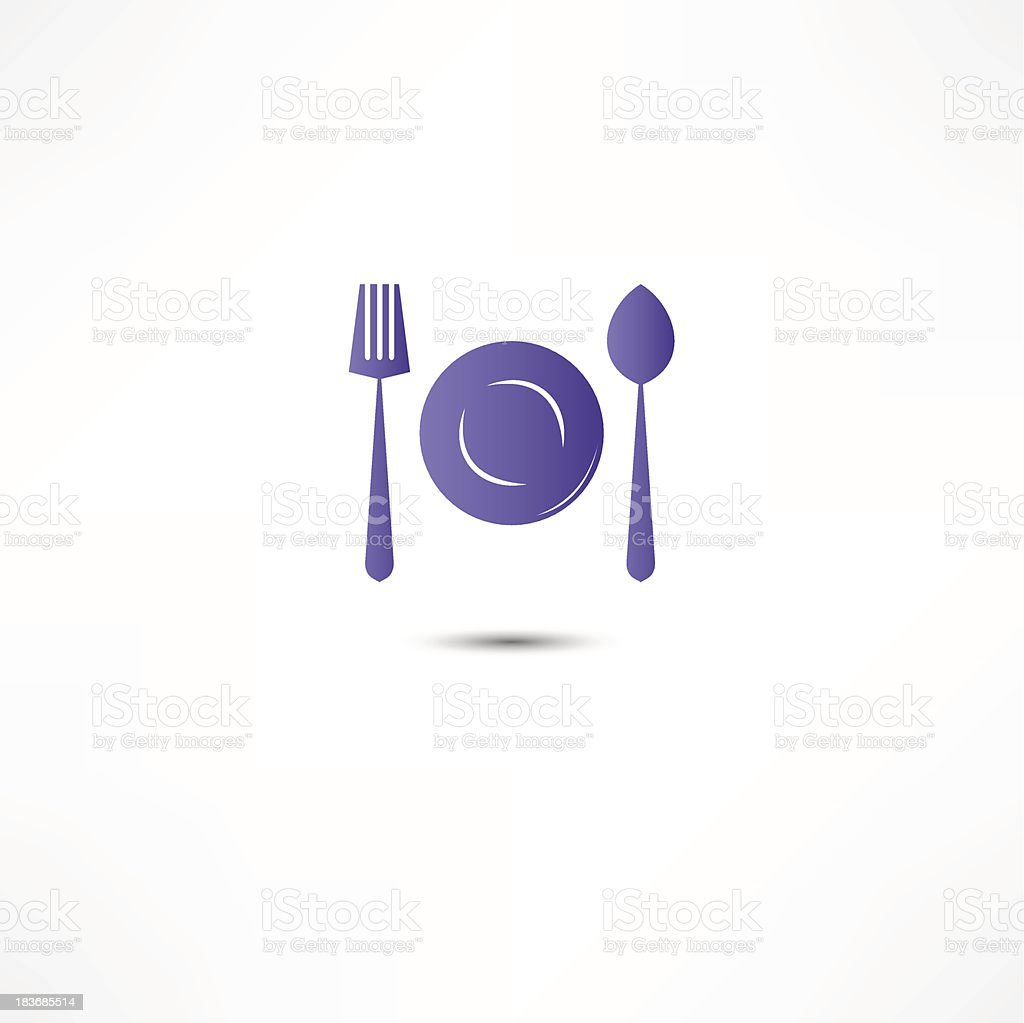 Fork, Spoon And Plate Icon royalty-free stock vector art