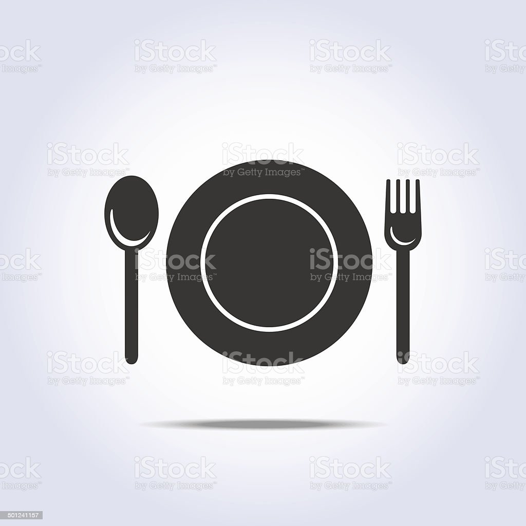 fork spun plate icon vector art illustration