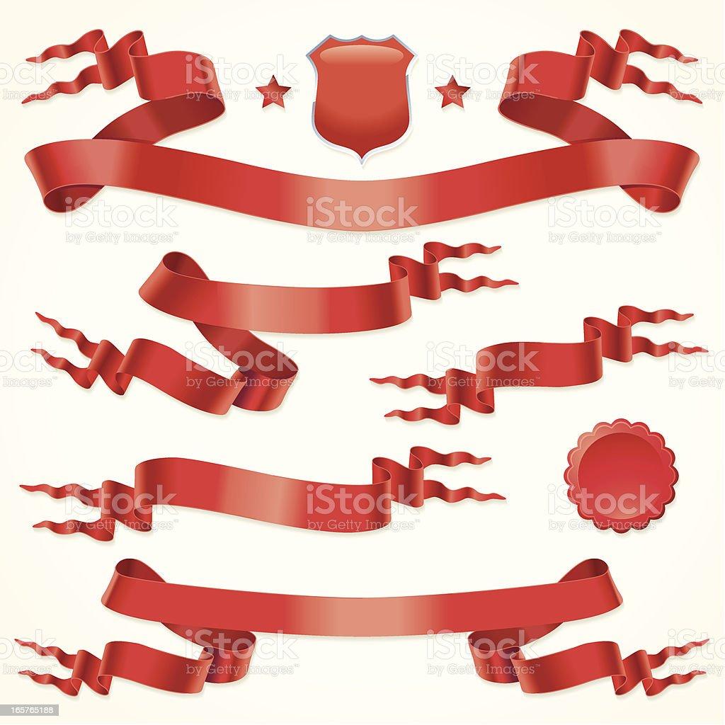 Fork tailed ribbons vector art illustration