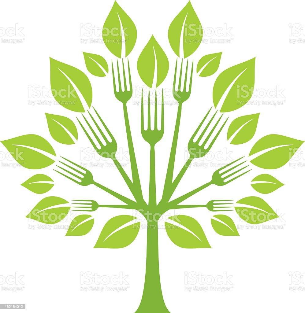Fork tree vector art illustration