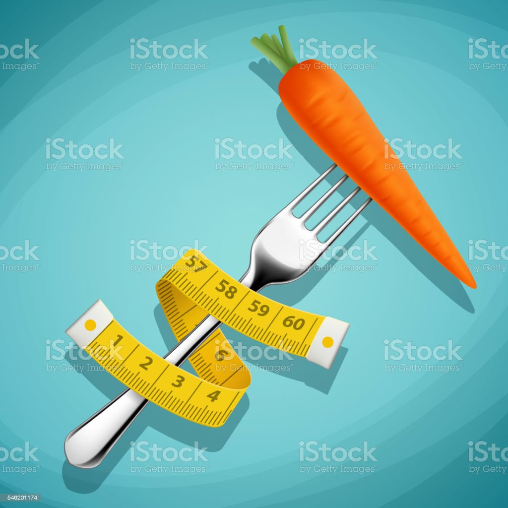 Fork with a carrot and a measuring tape. Healthy food. vector art illustration