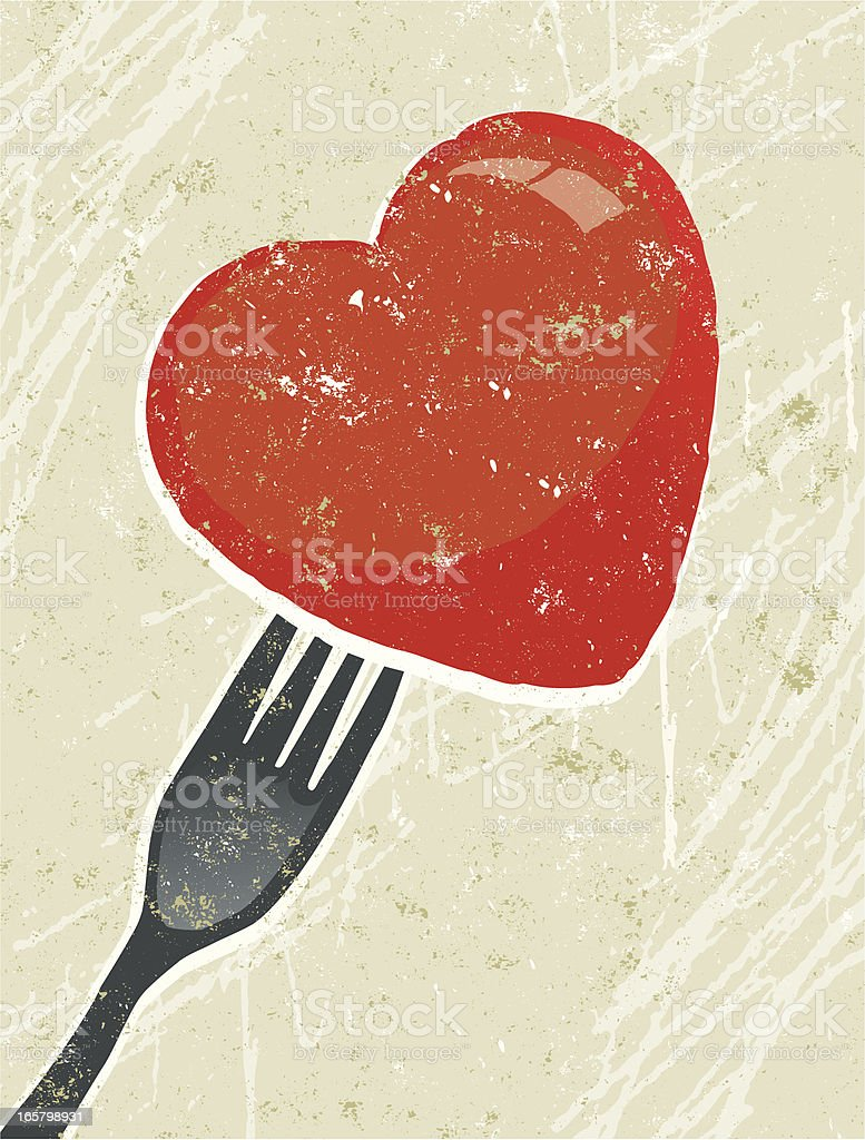 Fork with a Heart royalty-free stock vector art