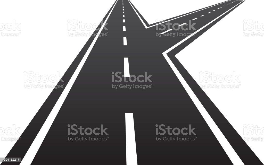 Forked road vector art illustration