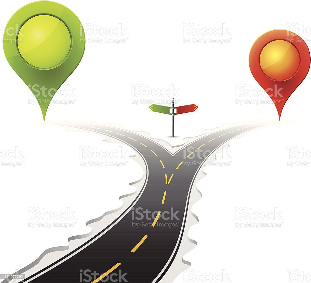 Forked Road with Signpost and Map Pointers vector art illustration