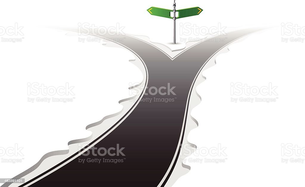 Forked Road with Signpost vector art illustration