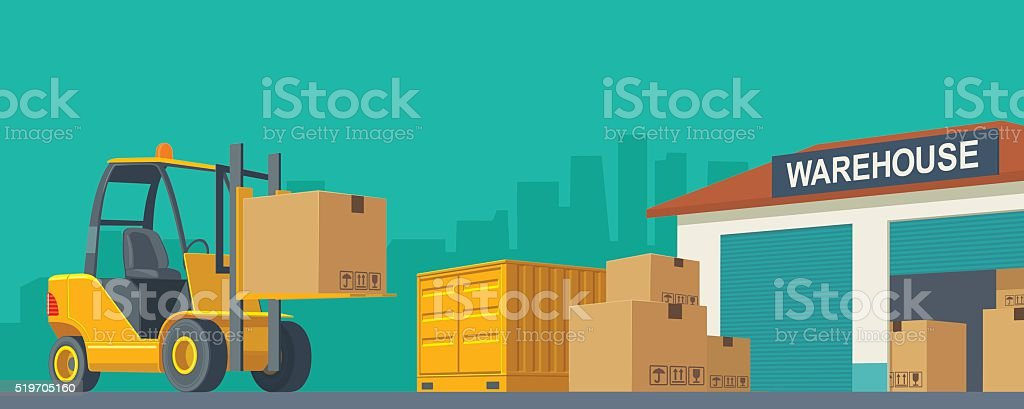 Forklift carries a box in storage vector art illustration
