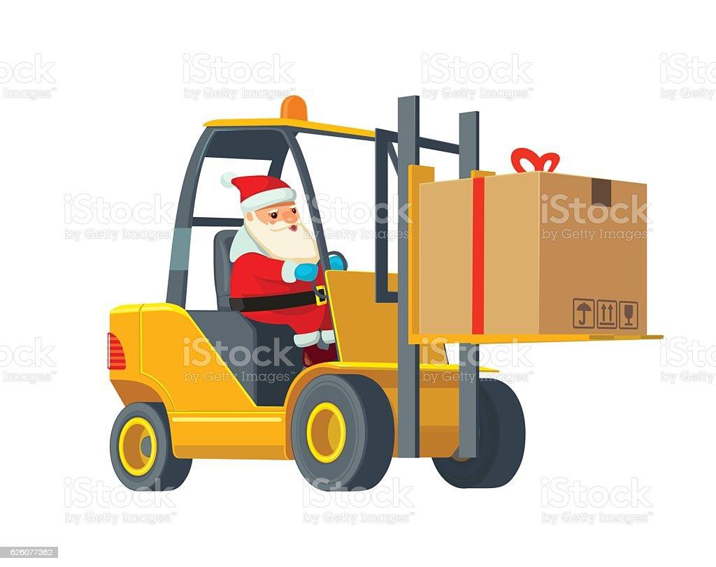 Forklift carries a box. Wide flat vector illustration vector art illustration