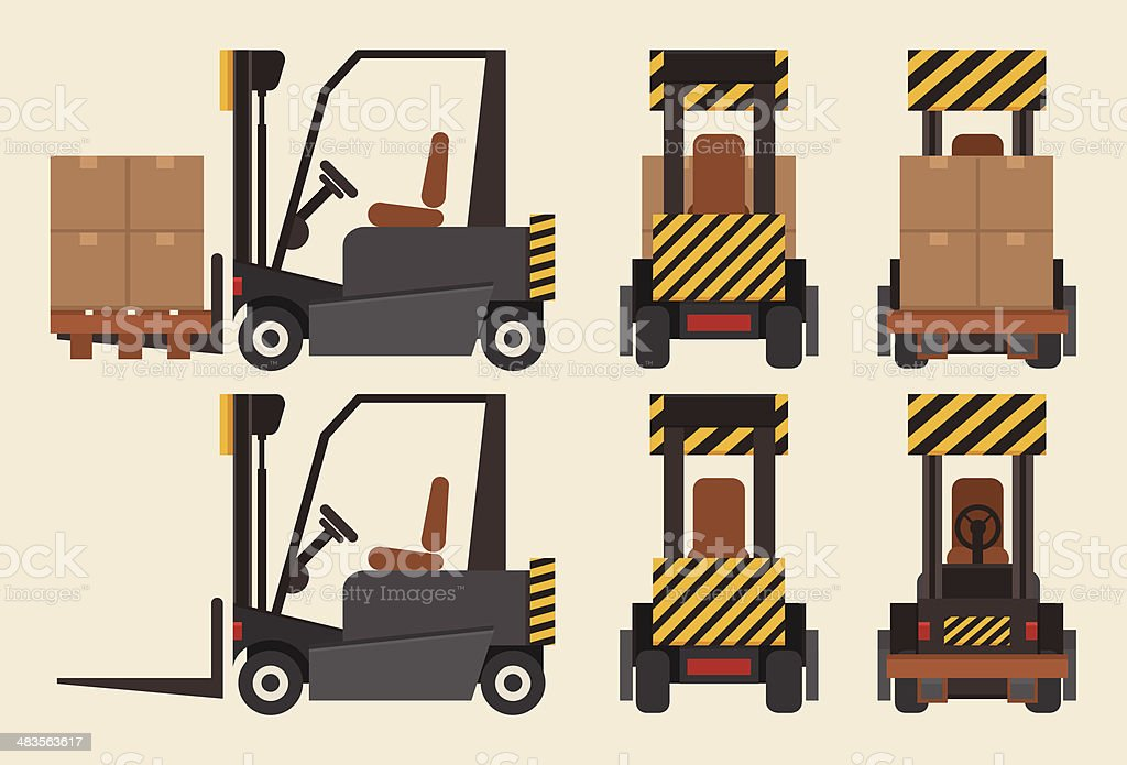 Forklift front, back and side royalty-free stock vector art