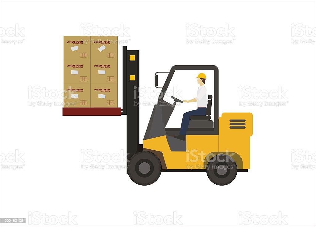 forklift lifting boxes vector art illustration