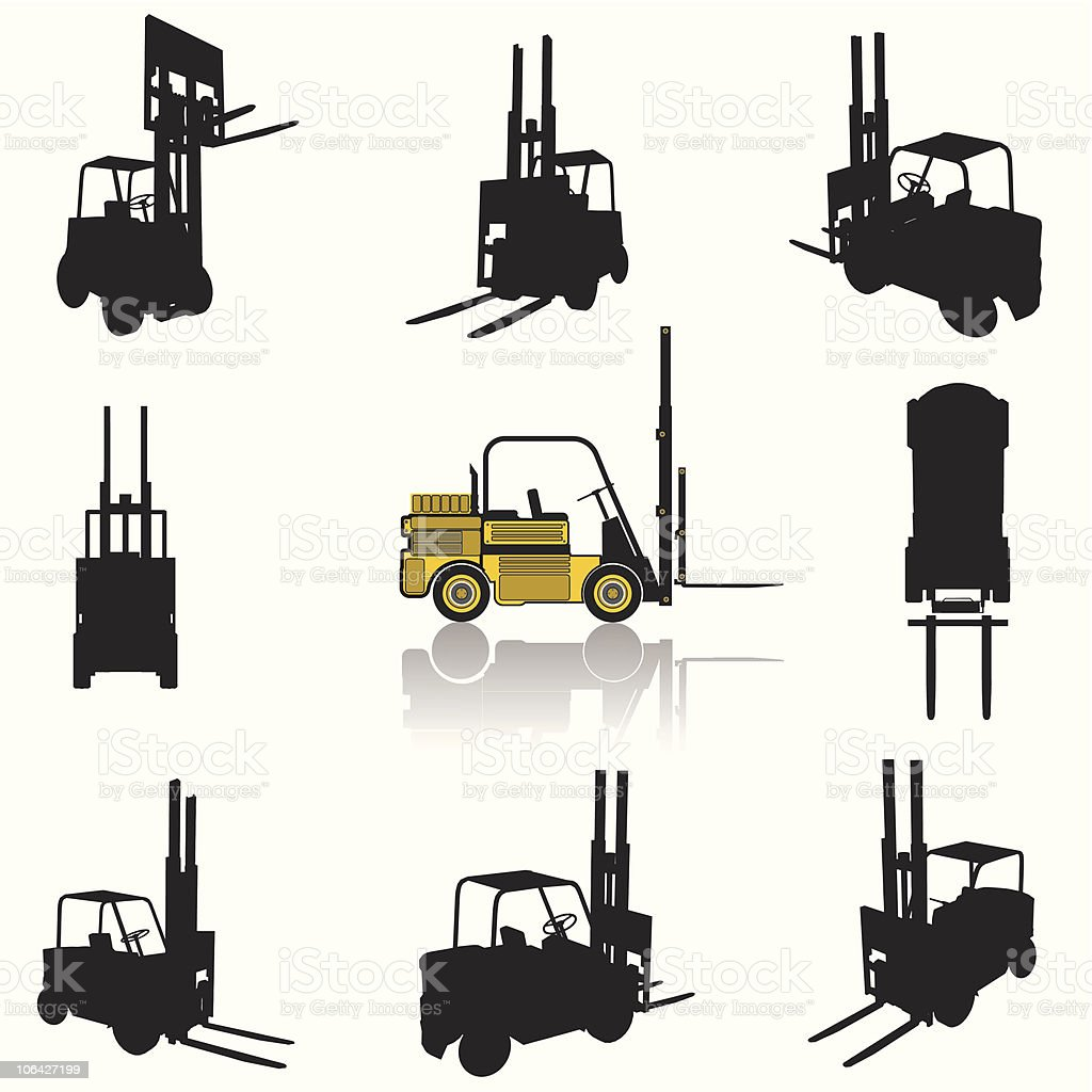 Forklift silhouette set vector art illustration