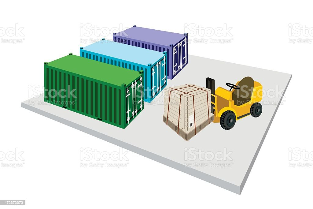 Forklift Truck Loading Shipping Box into Container royalty-free stock vector art