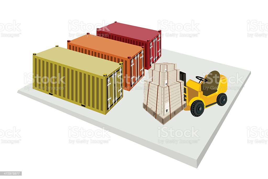 Forklift Truck Loading Shipping Boxes into Containers royalty-free stock vector art