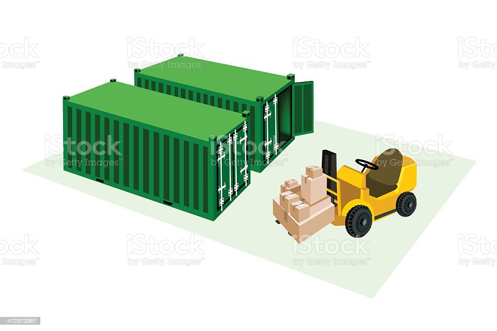 Forklift Truck Loading Shipping Boxes into Freight Containers royalty-free stock vector art