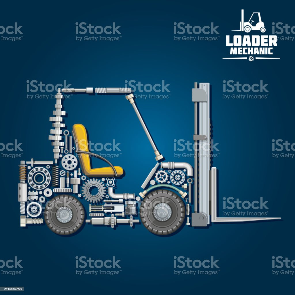 Forklift truck silhouette, composed of details vector art illustration