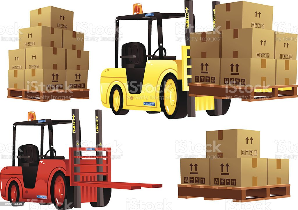 Forklift trucks in red and yellow plus pallets royalty-free stock vector art