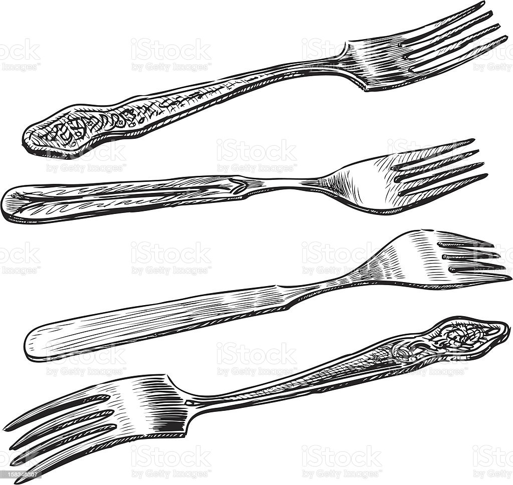 forks vector art illustration