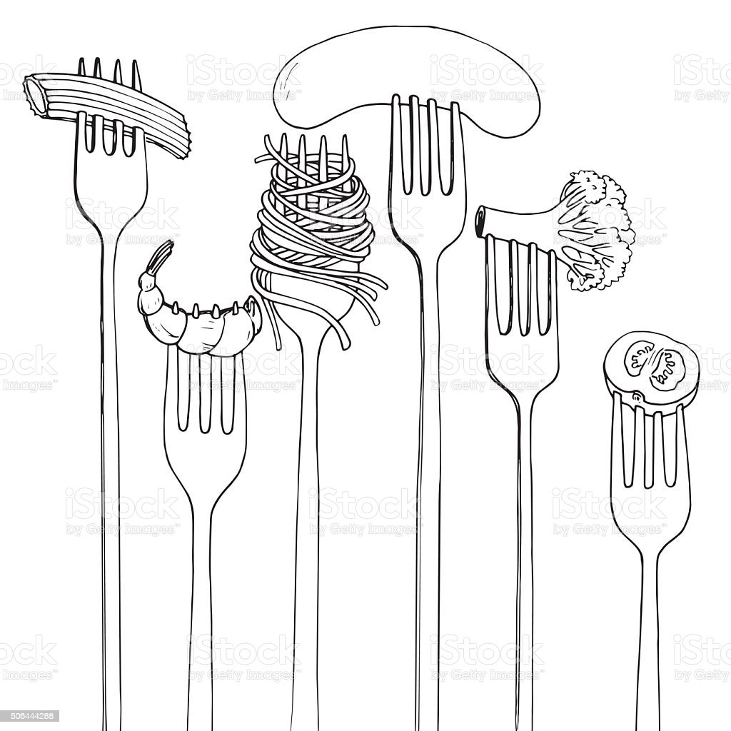 forks with foods vector art illustration