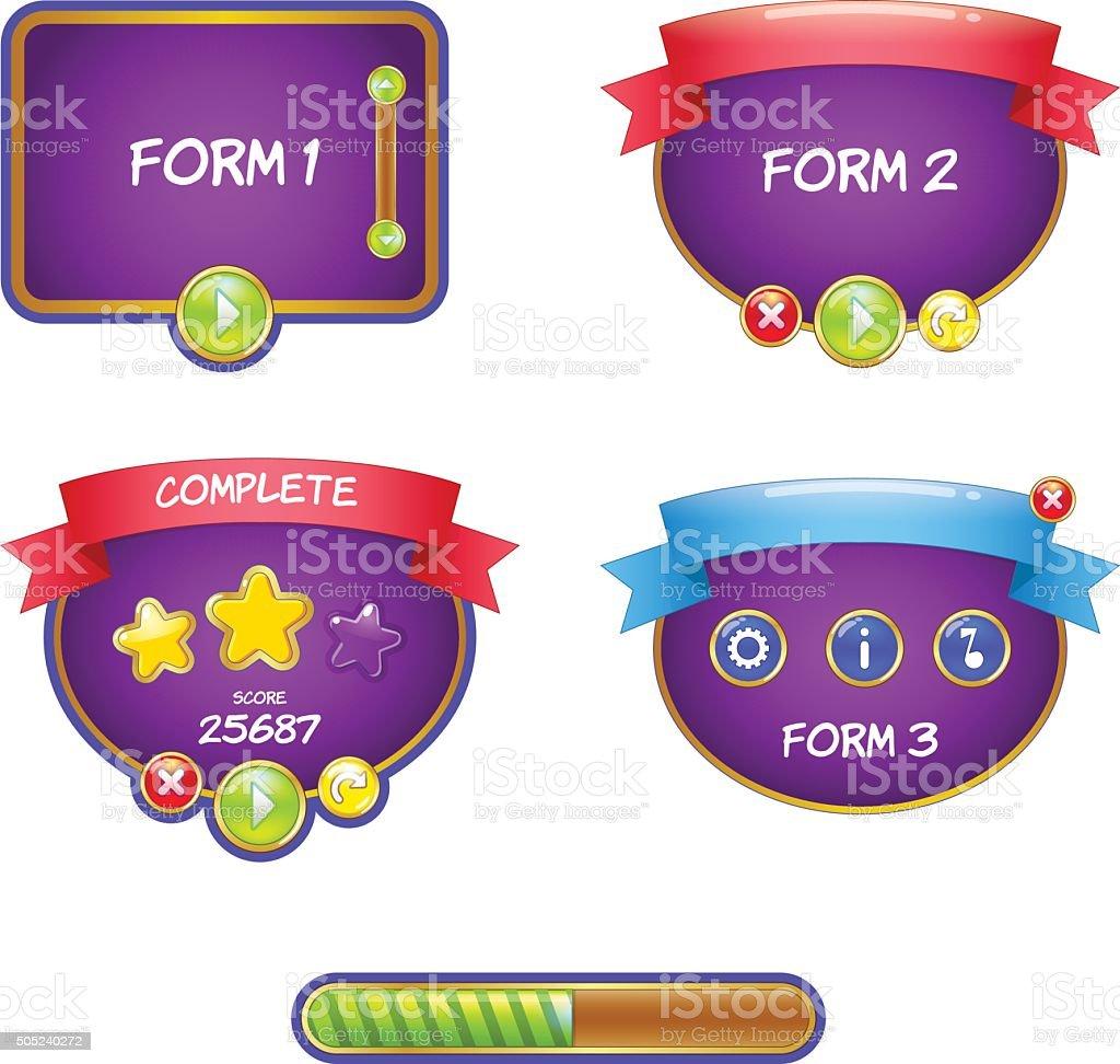 Form design game user interface for video games vector art illustration