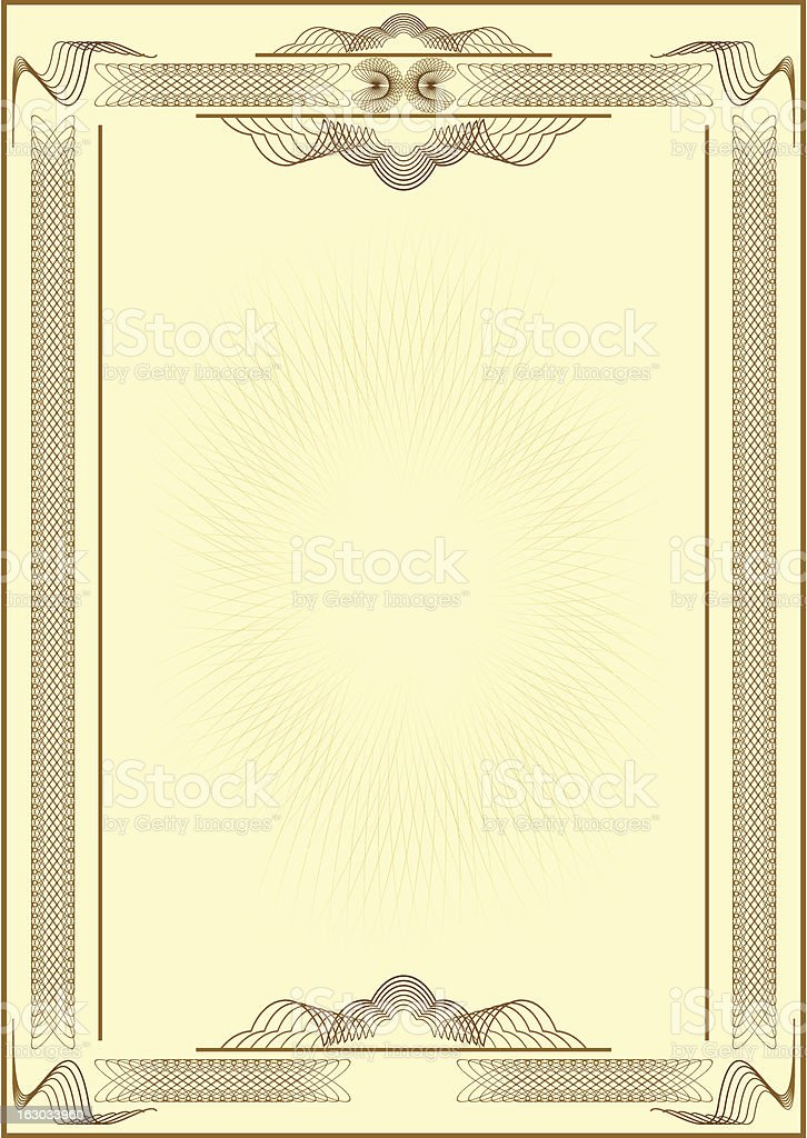 Form of certificate. royalty-free stock vector art