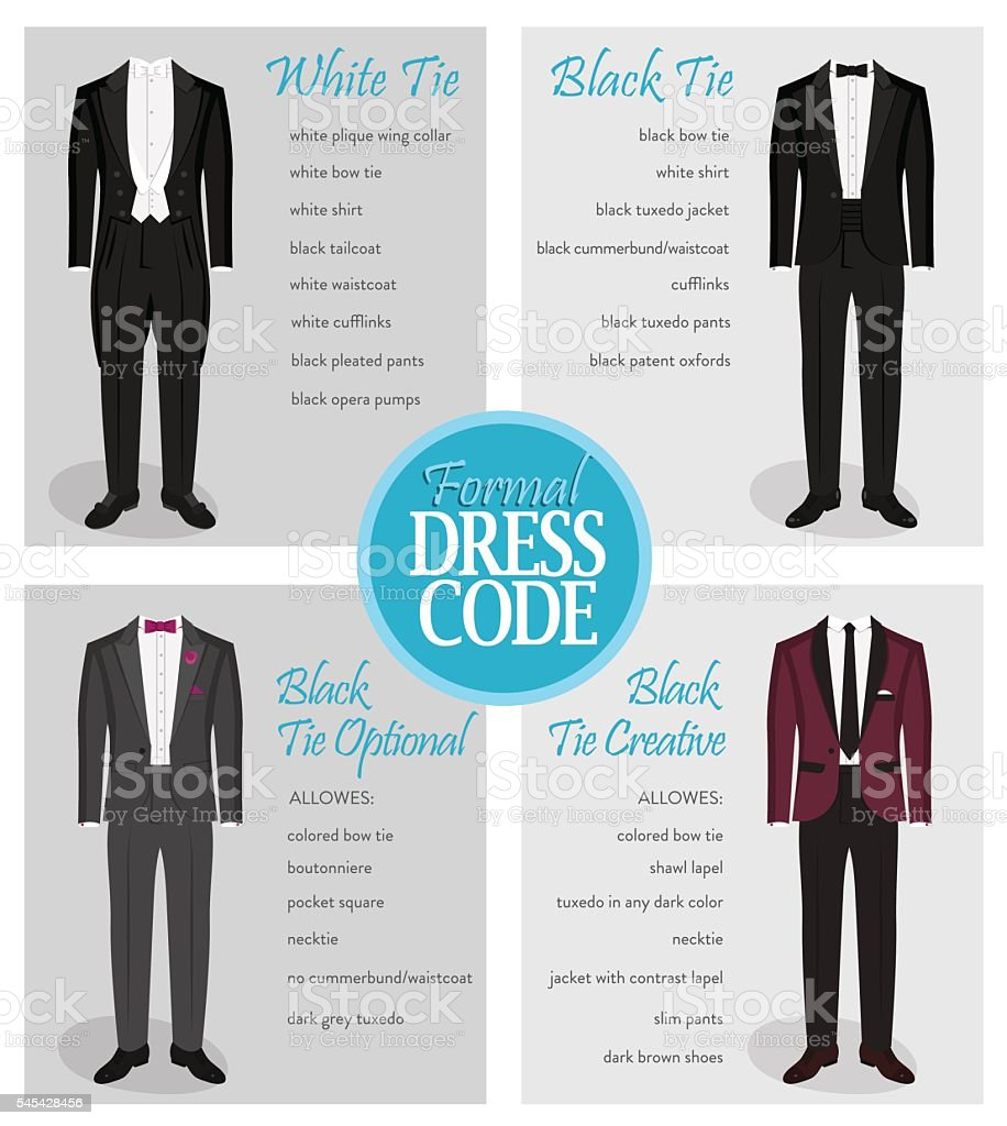 Formal dress code guide for men vector art illustration