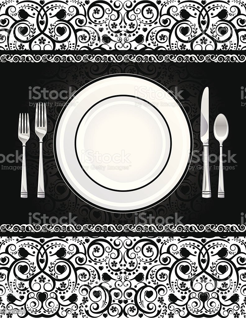 Formal Place Setting Invitation royalty-free stock vector art