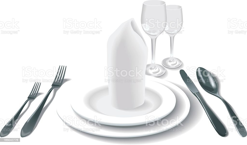formal place setting on white royalty-free stock vector art