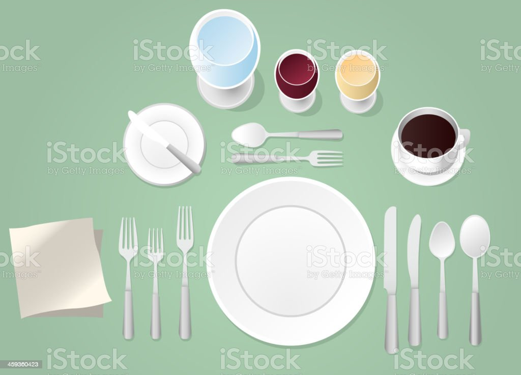 Formal Place Setting Table royalty-free stock vector art